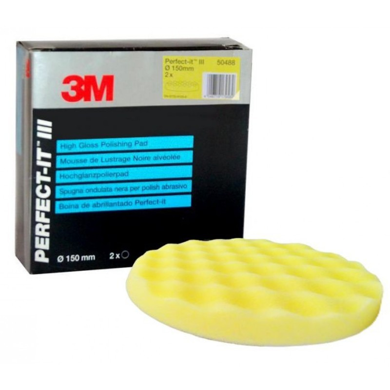 2 x 3M Perfect-it III 50488 Polishing Pad yellow 150mm for Extra Fine Compound