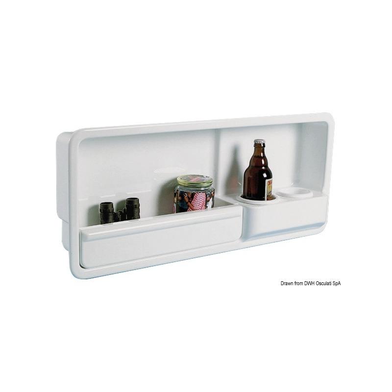 Vano laterale portaoggetti provvisto di due portabicchieri /lattine/ piccole bottiglie